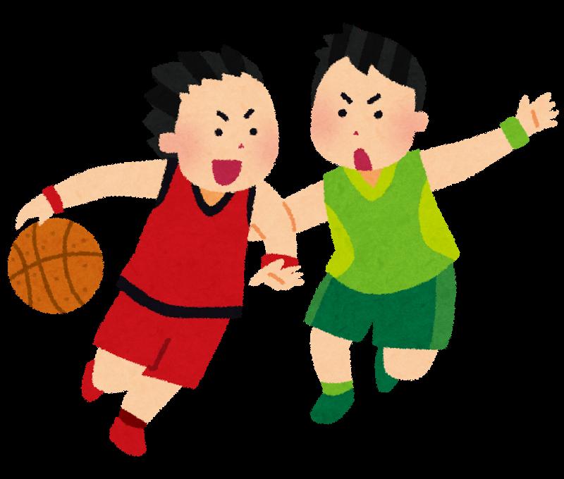 バスケットボールしてる子供